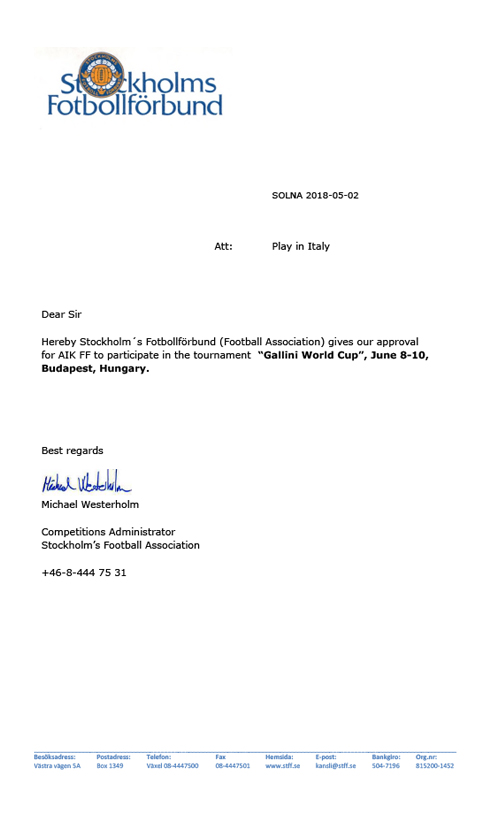 authorization letter of football federation