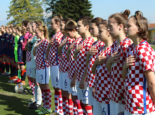 croatia women national team standing during national anthem at women's soccer tournament